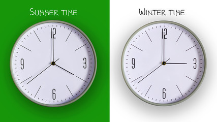 Wall clock on a green and white background. Concept of transition to winter time.
