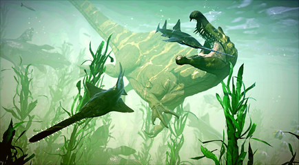 A 3D rendering of Spinosaurus attempting to catch its next meal.