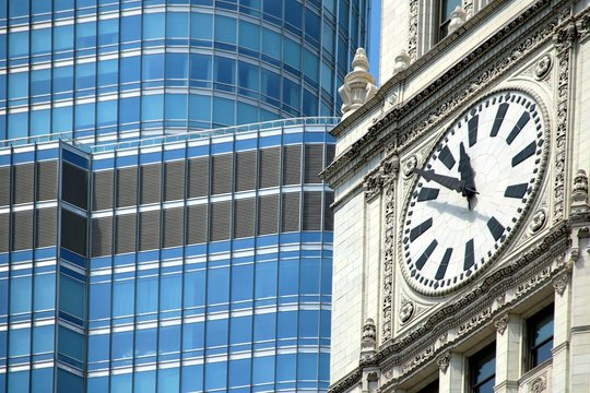 clock, chicago, The Wrigley Building, clock, building, architecture, downtown, skyscraper, urban, buildings,