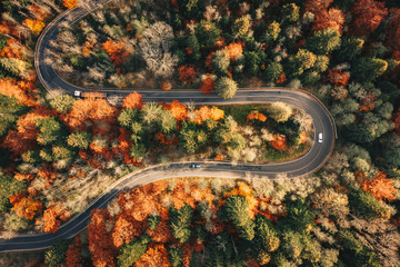 Winding mountain road trough the forest in the autumn with cars passing on the road