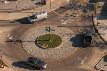 Roundabout Traffic Circle with Vehicles