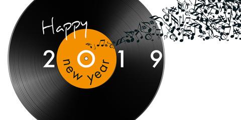 Carte de vœux 2019 sur le thème de la musique avec un disque vinyle et des notes