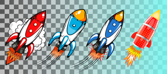 Set of rockets in retro pop art style vector illustration