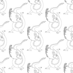 black and white monochrome seamless pattern with an oriental dragon