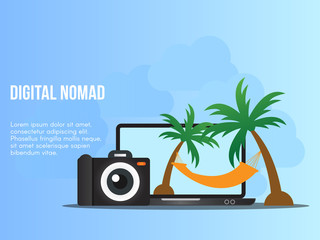 Digital nomad concept illustration vector design template