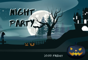 Night Party lettering with moon and glowing pumpkins. Invitation or advertising design. Typed text, calligraphy. For leaflets, brochures, invitations, posters or banners.