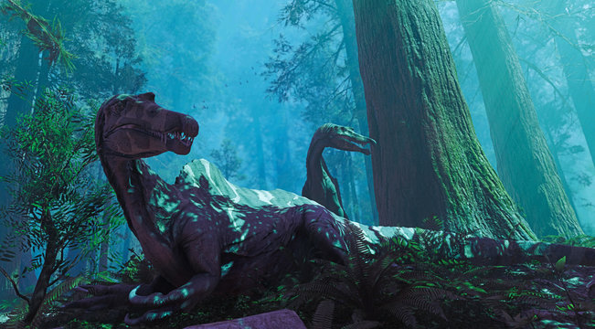 A 3D rendering of two Spinosaurus awakened but a roar in the distance.