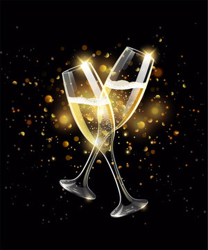 Sparkling glasses of champagne on black background, gold bokeh effect, realistic wineglass with fizzy drink, celebrate concept, vector illustration