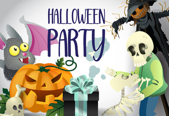 Halloween party poster design. Skeletons, pumpkin scarecrow, cute bat and gift box on white background. Template can be used for flyers, banners, invitation cards