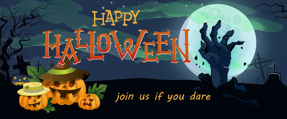 Happy Halloween banner design. Pumpkin lanterns, hand rising from grave and full moon in background. Template can be used for flyers, posters, invitation cards