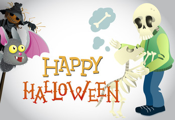 Happy Halloween greeting design. Cartoon bat, scarecrows, pumpkin, human and dog skeletons. Template can be used for flyers, banners, invitations
