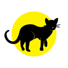 Vector Illustration. Silhouette cat on yellow circle. Shadow-figure isolated cat icon