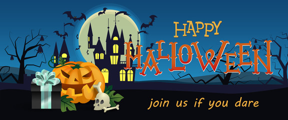 Happy Halloween, festive banner design. Gift box, pumpkin, skull, gothic castle, flying bats and tree night silhouettes. Template can be used for flyers, posters, invitation cards