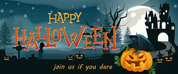 Happy Halloween, join us if you dare banner design. Pumpkin lanterns, crow, gothic castle, graves, Grim Reaper night silhouettes. Template can be used for flyers, posters, invitation cards