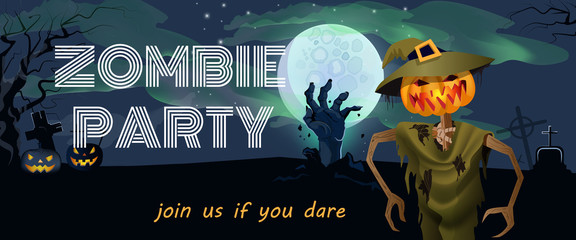 Zombie Party banner design. Halloween pumpkin lanterns, hand rising from grave and full moon in background. Template can be used for flyers, posters, invitation cards