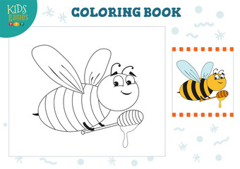 Coloring book, blank page vector illustration. Preschool kids activity