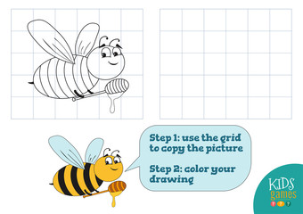 Copy and color picture vector illustration, exercise. Funny bee cartoon character