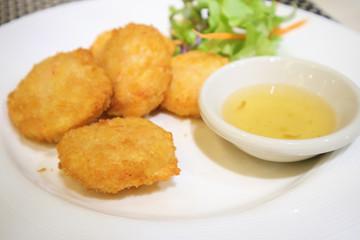 Tod Mun Goong, fried shrimp pancake Thai food