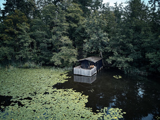 small wooden house between trees and a lake