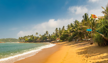 Paradise Mirissa beach in Sri Lanka. Yellow sand and palm trees with blue sky and Flag of Sri Lanka