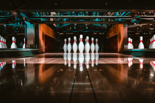 bowling alley. pins.