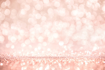 Poster Roses Rose gold and pink glitter, Defocused abstract holidays lights on background.