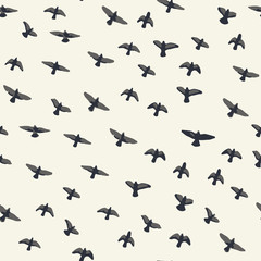 Flying birds seamless pattern. Primitive style.