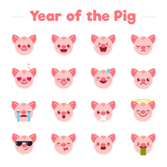 Year of the Pig flat character emoji emoticons set.Different type of funny mascot piglets emojis symbols icons vector illustration