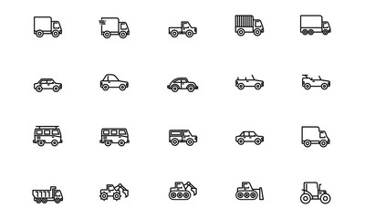 Transportation - Outline. Editable Stroke. 64x64 Pixel perfect.
