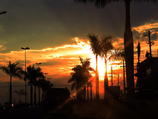 sunset in city