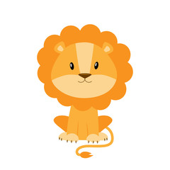 Cute cartoon lion vector illustration isolated on white backgrou