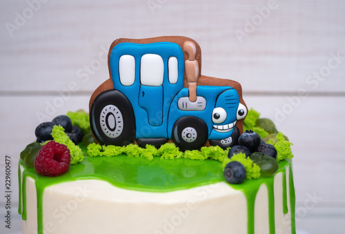 Birthday Cake For A Child With Toy Tractor