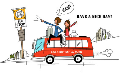 Two people traveling on the roof of a bus