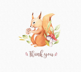 Cute baby animal nursery isolated illustration for children. Watercolor boho forest drawing squirrel forest image Perfect for nursery posters, patterns