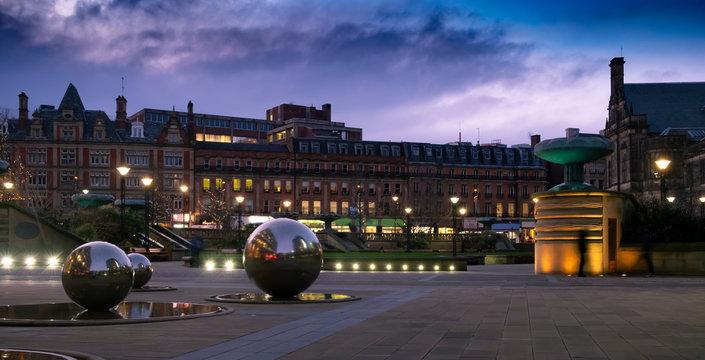 Sheffield City Centre, evening lights