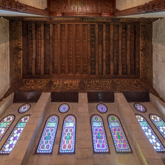 Wooden ornate ceiling with floral pattern decorations and colorful stained glass windows, Sultan al Ghuri Mausoleum, Cairo, Egypt