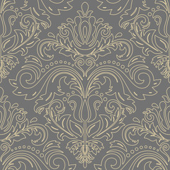 Orient classic pattern with golden outlines. Seamless abstract background with vintage elements. Orient background