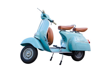 Foto op Plexiglas Scooter Light blue vintage motorcycle scooter isolated in white background. Adorable old scooter in perfect condition.