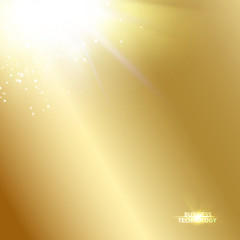 Sun ray shining a the top of image over the golden gradient background. Vector illustration.