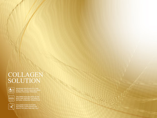 Golden abstaraction with lines, waves and gradients. Vector illustration.