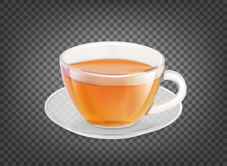 Tea cup isolated over black transparent background. Vector illustration.