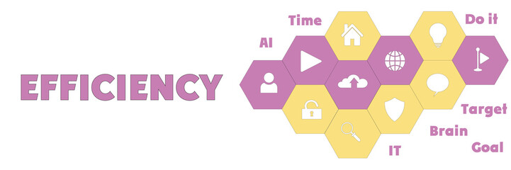 EFFICIENCY Panoramic Hi tech banner with hexagons icons and tags