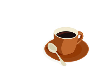 Cup of coffee is on a white background