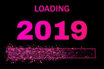 Ladebalken mit Glitzer für das neue Jahr 2019