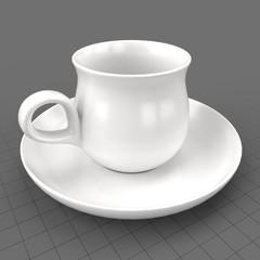 Modern teacup and saucer