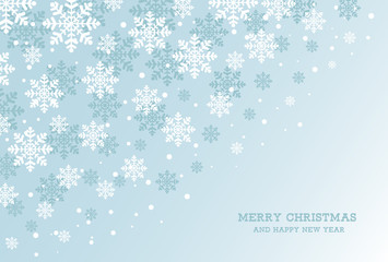 Merry Christmas and Happy New Year card with snowflakes. Vector illustration.