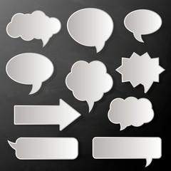 speech bubbles, paper white stickers, vector illustration.