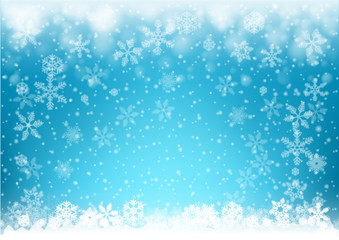 Christmas background , snow and snowflakes illustration
