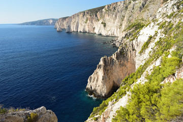 Rocky coastline of Zakynthos Island seen from the pine forests above