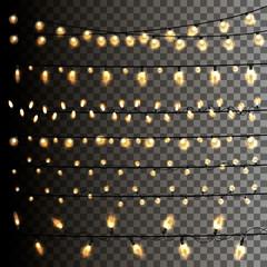 Christmas light garland on a transparent background. Vector